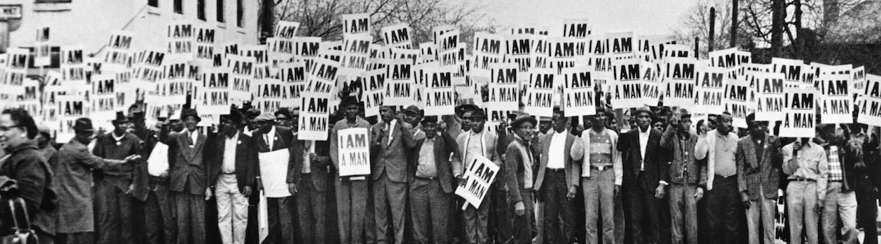 Ernest C. Withers Sanitation Workers Assembling for a Solidarity March, Memphis, March 28, 1968 Gelatin silver print 8 1/2 x 14 3/4 in. National Museum of African American History and Culture, Smithsonian Institution, Museum Purchase