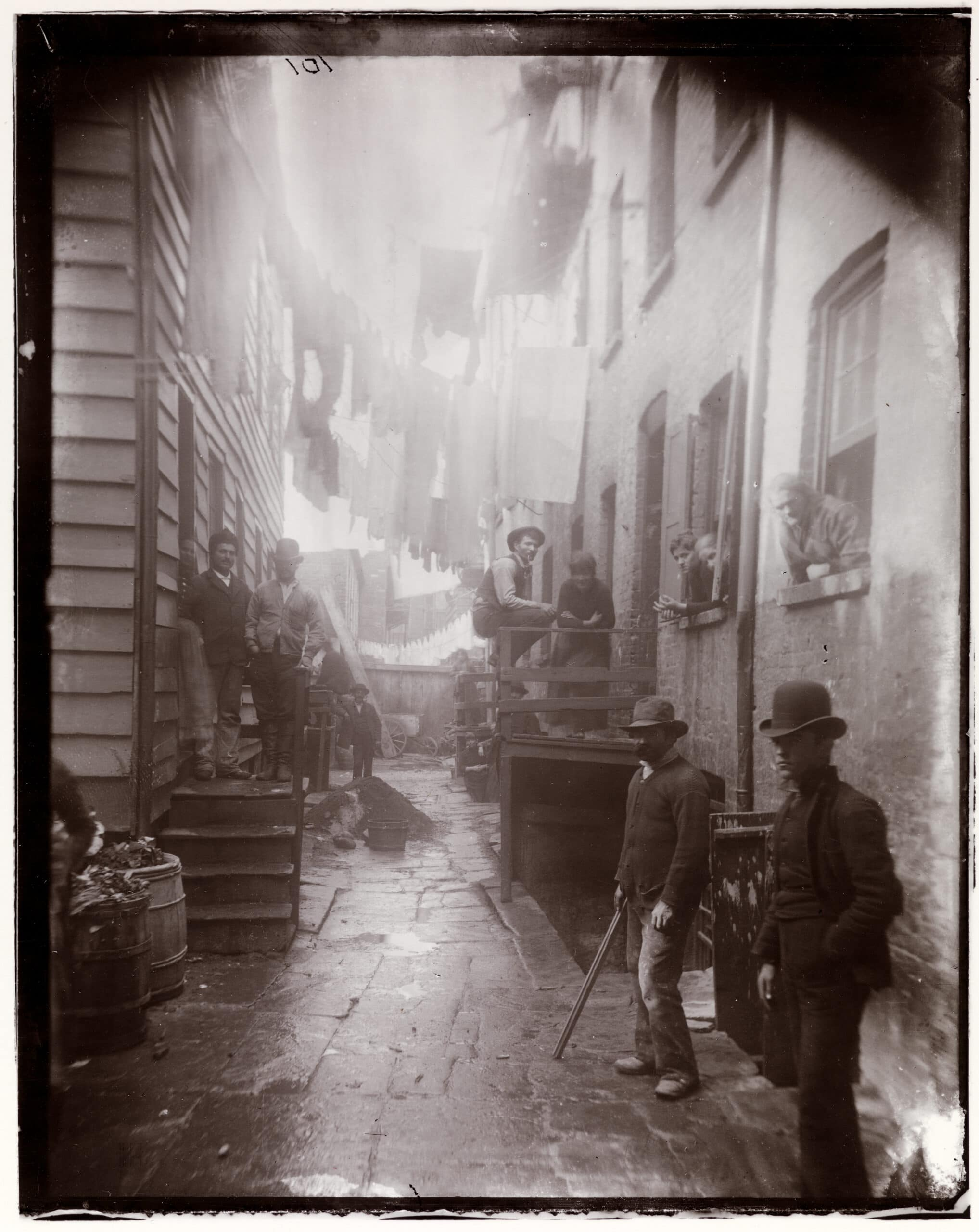 Jacob A. Riis, Bandits' Roost, 1887-1888; reproduction on modern gelatin printing out paper, original 5 x 4 inches; From the Collection of the Museum of the City of New York, 90.13.4.104.
