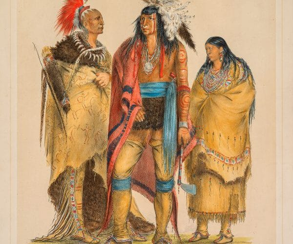 George Catlin, North American Indians, 1844, hand-colored lithograph, 25 x 21, private collection. Photo: E.G. Schempf.