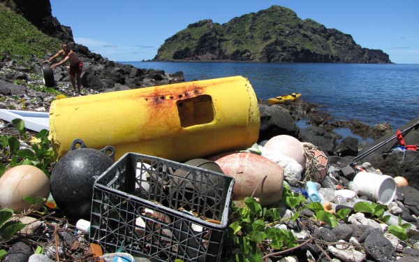 Derelict fishing gear, plastic bottles, and marine debris, Maug Island, Mariana Trench Marine National Monument, 2009. Image courtesy of Angelo Villagomez/Marine Photobank.