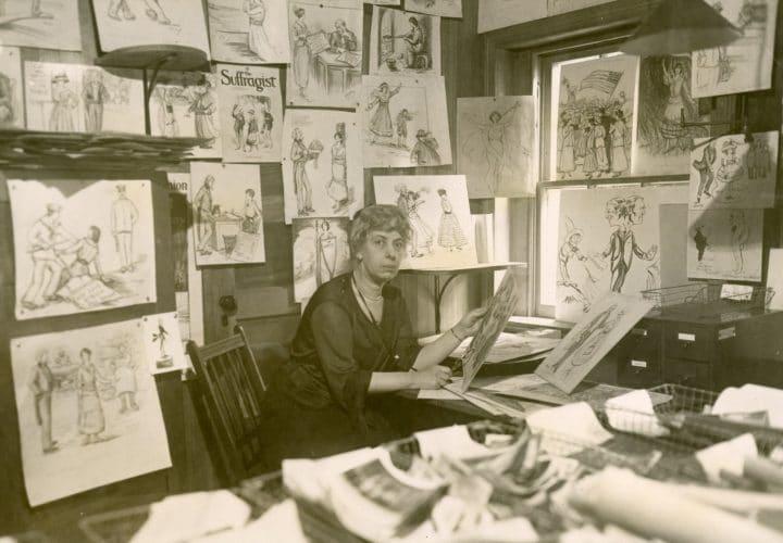 Nina Evans Allender (1873-1957) in her studio circa 1921